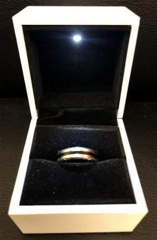 Mens Titanium Steel Silver Blue Engagement Ring
