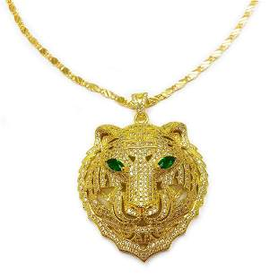 Gold Plated & Bejewelled Lion Head Pendant On 18kt Gold