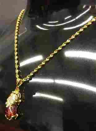 Ladies Red Jade Pixiu Pendant On 24K Gold Filled Chain