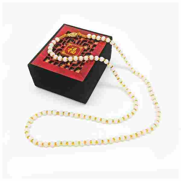Asian White Jade Necklace 14k Gold Plated Clasp With