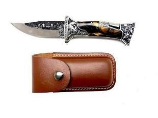 Folding Knife With Leather Sheath
