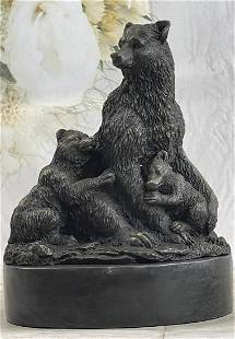 Signed Original Grizzly Bear with her two Cubs Bronze