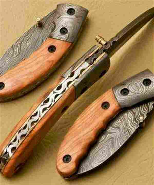 Formed Talon Damascus Steel Folding Pocket Knife With