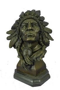 Carl Kauba Large American Warrior Bust Bronze Sculpture