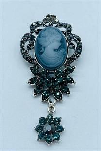 Ladies Semi Precious Rhinestone Silhouetted Silver