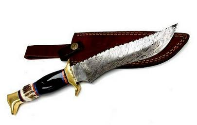 """13"""" Inlaid Wood Handle Damascus Hunting Knife With"""