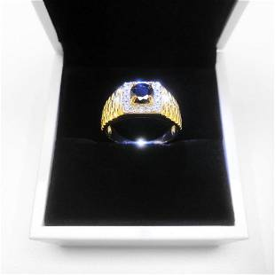 Size 10 Mark S925 Gold Plated Black Stone Mens Ring