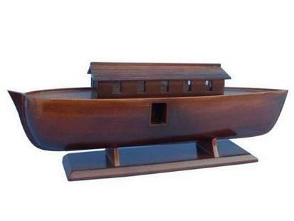 "Wooden Noah's Ark Model Boat 14"""