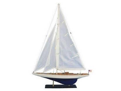"Wooden Enterprise Model Sailboat Decoration 35"""