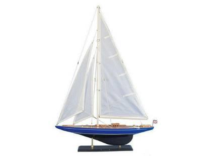 """Wooden Velsheda Model Sailboat Decoration 35"""""""