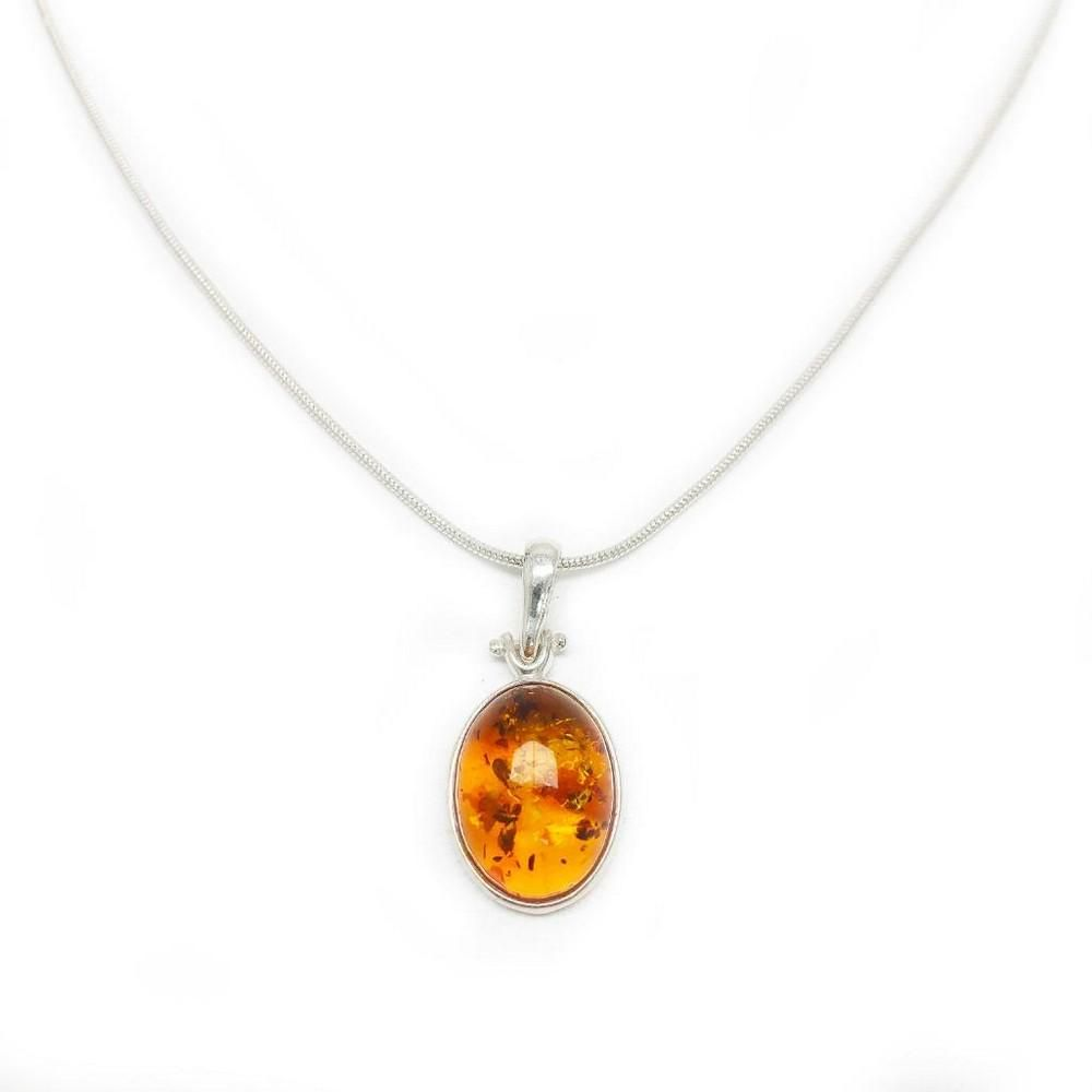 Mounted Baltic Amber 925 Silver Plated Pendant On 925