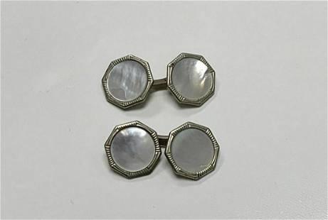 Set Of Men`s Silver Cufflinks