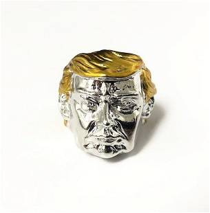 Donald Trump Golden Hair Portrait Ring Size 10.5