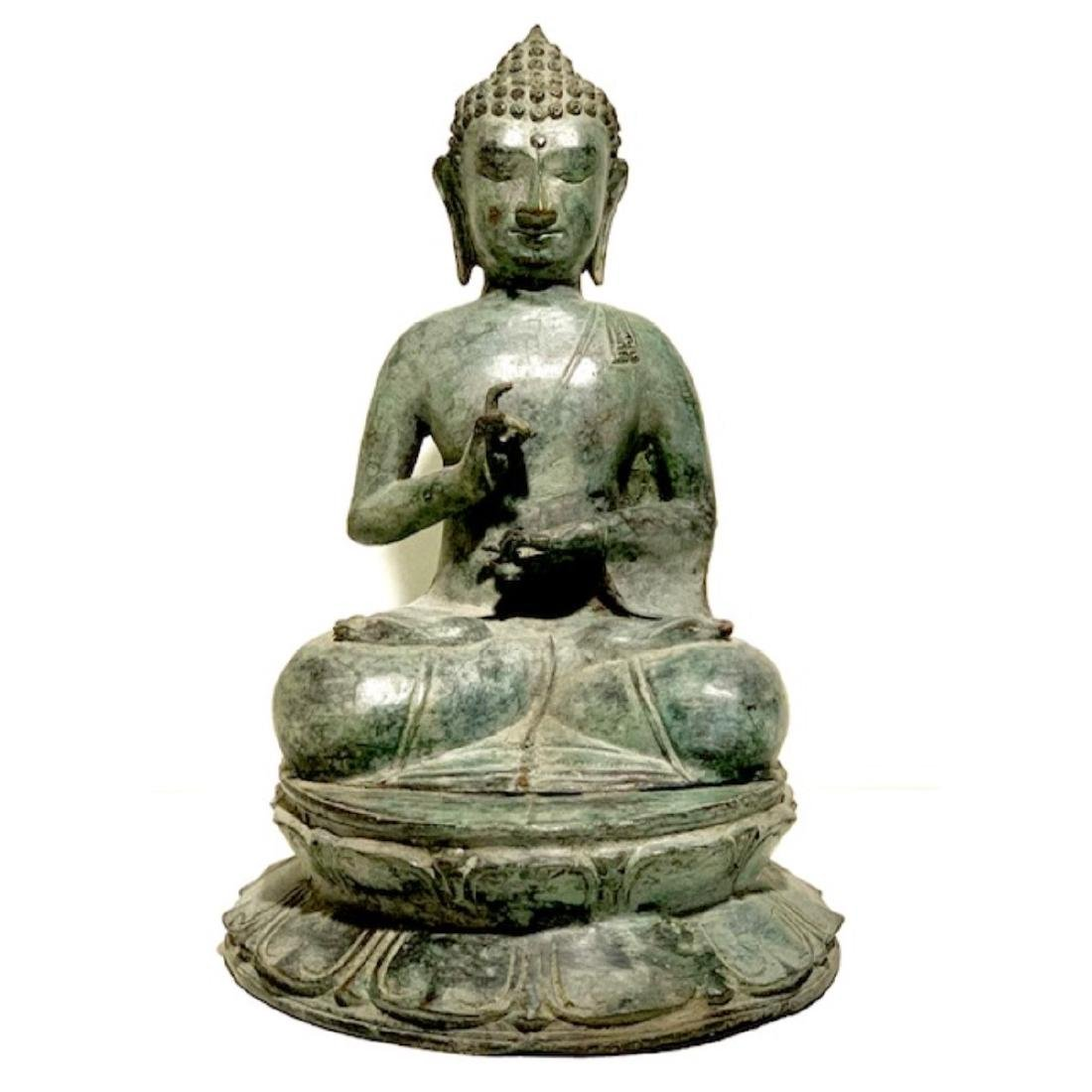 Large 19th Century Bronze Seated Buddha Sculpture with