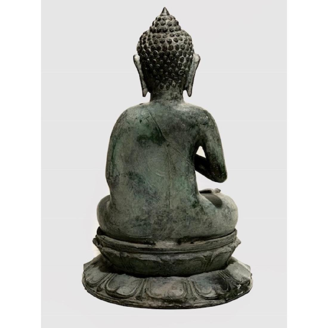 Large 19th Century Bronze Seated Buddha Sculpture with - 3
