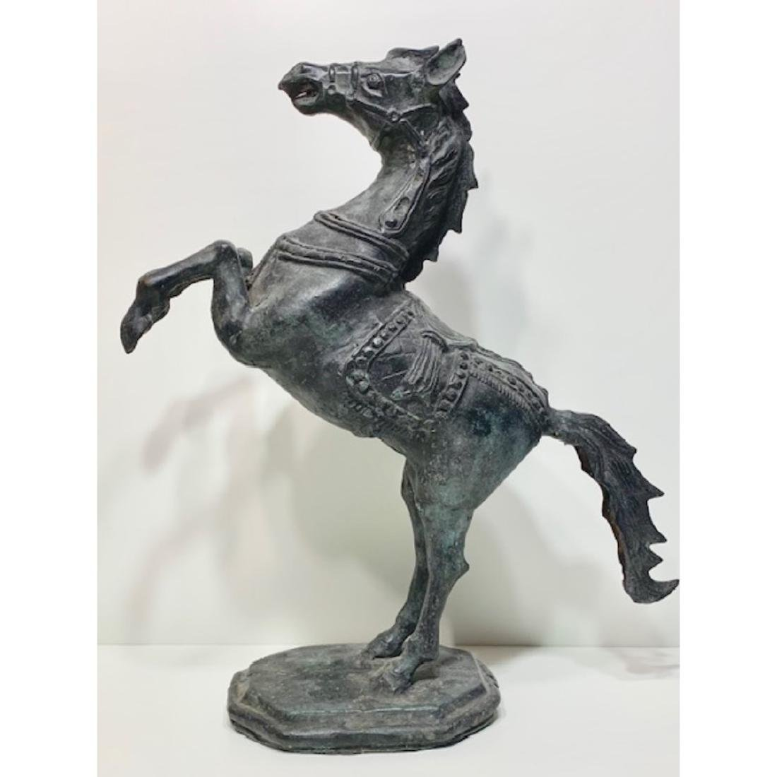 Awesome 19th Century Bronze Rearing Horse Statue
