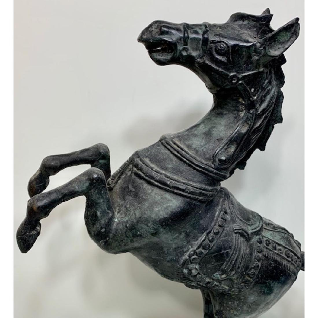 Awesome 19th Century Bronze Rearing Horse Statue - 3