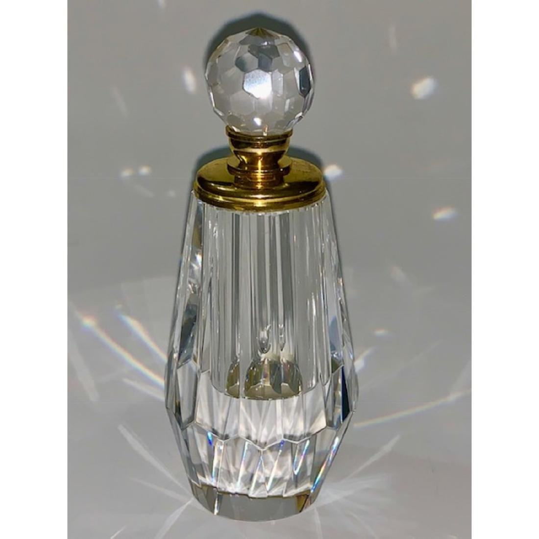 Gorgeous Gold Accented Solid Cut Crystal Perfume Bottle