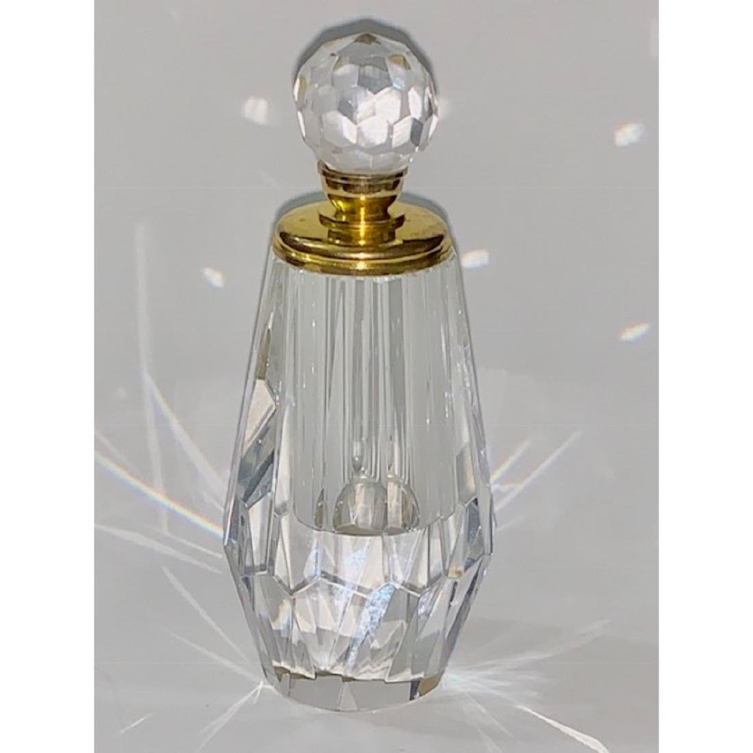 Gorgeous Gold Accented Solid Cut Crystal Perfume Bottle - 3