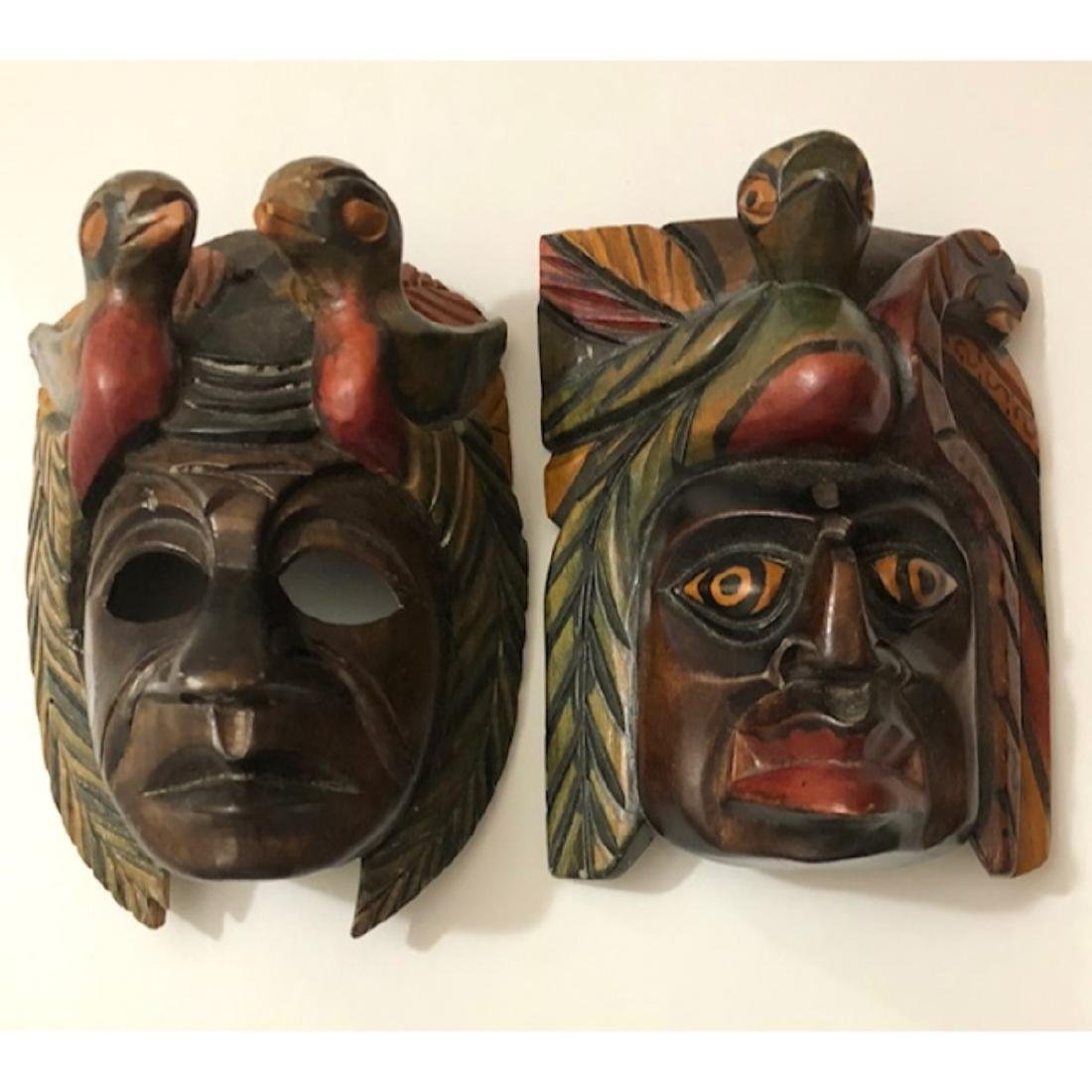 Lot of 2 Hand Carved & Painted Solid Wood Tribal Masks