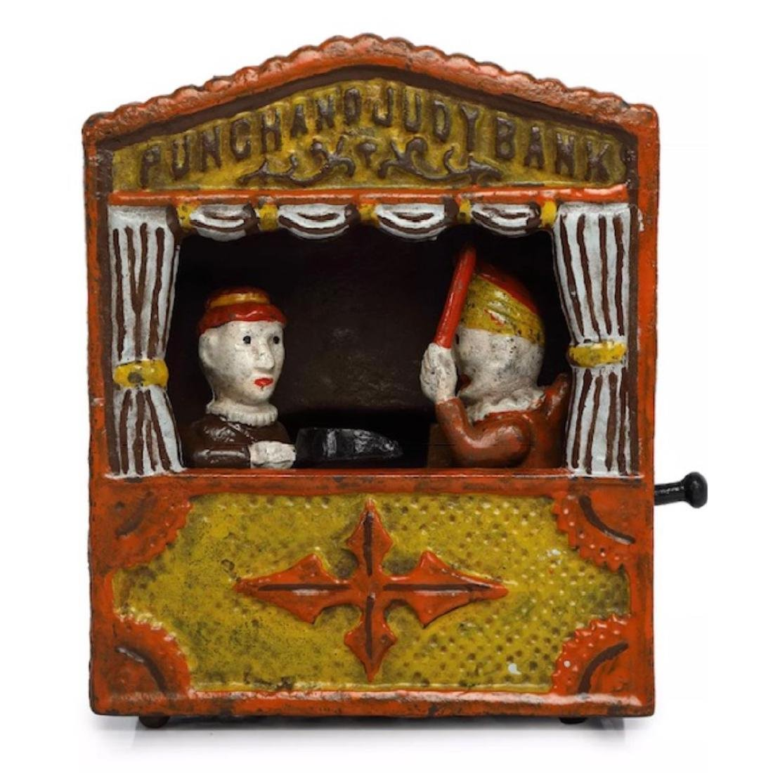 Vintage PUNCH and JUDY Cast Iron Mechanical Coin Bank