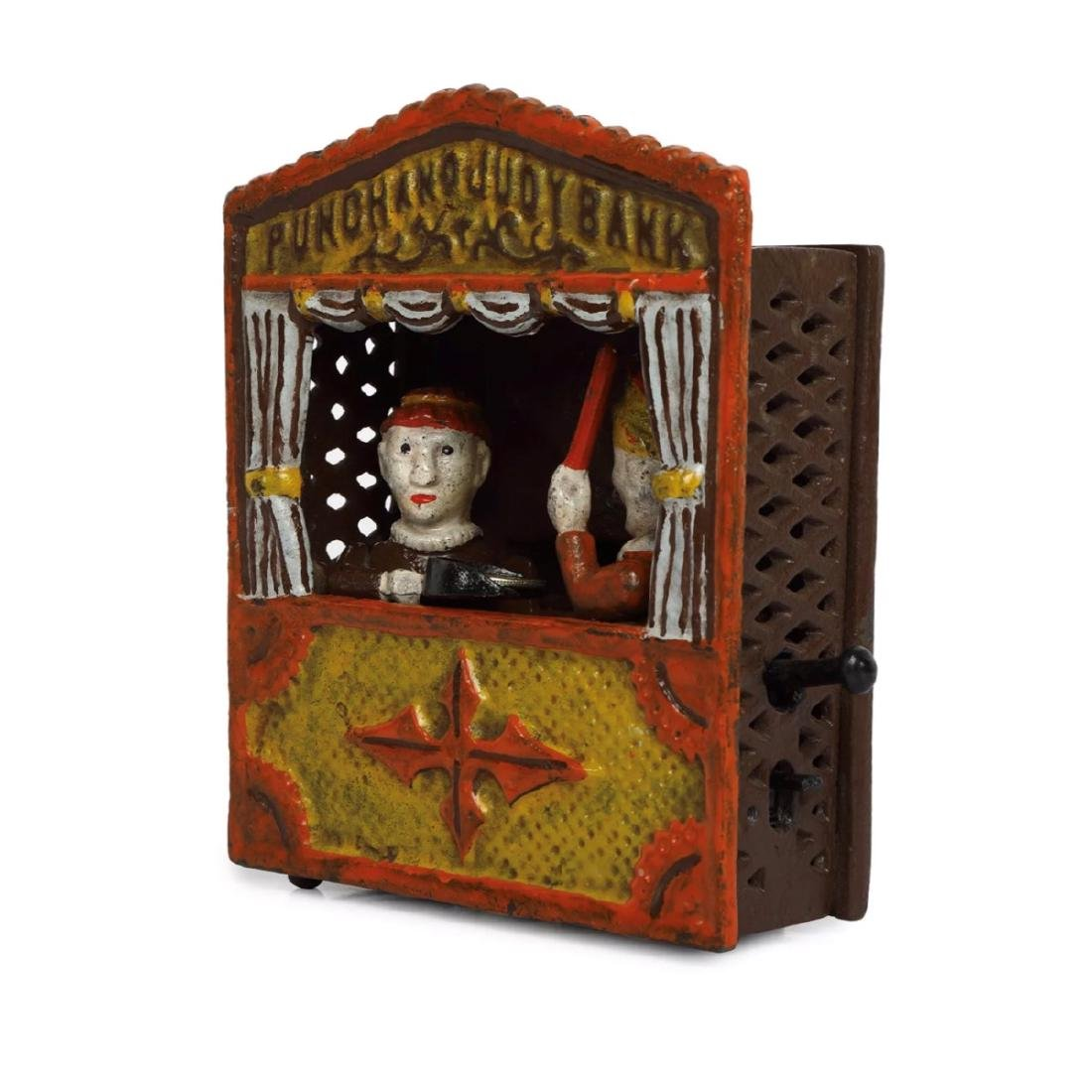 Vintage PUNCH and JUDY Cast Iron Mechanical Coin Bank - 2