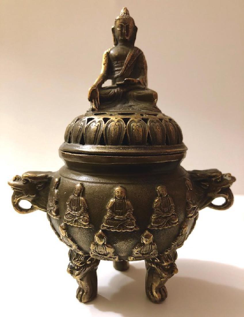 Old Bronze Chinese Hallmarked Buddhist Temple Censor