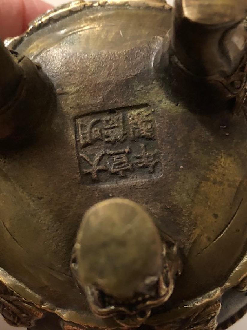Old Bronze Chinese Hallmarked Buddhist Temple Censor - 2