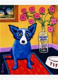 Signed BLUE DOG Giclee Print Art on Canvas 12†x