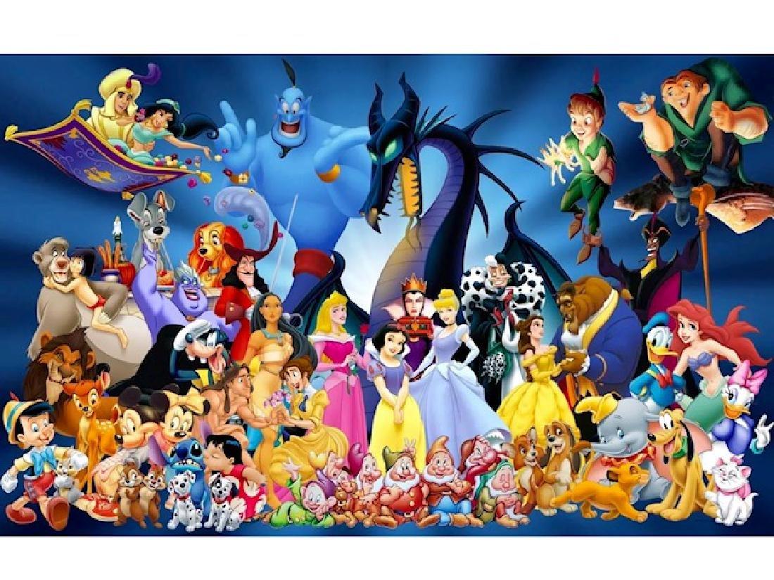 Walt Disney Movie Characters Giclee Art Canvas Print