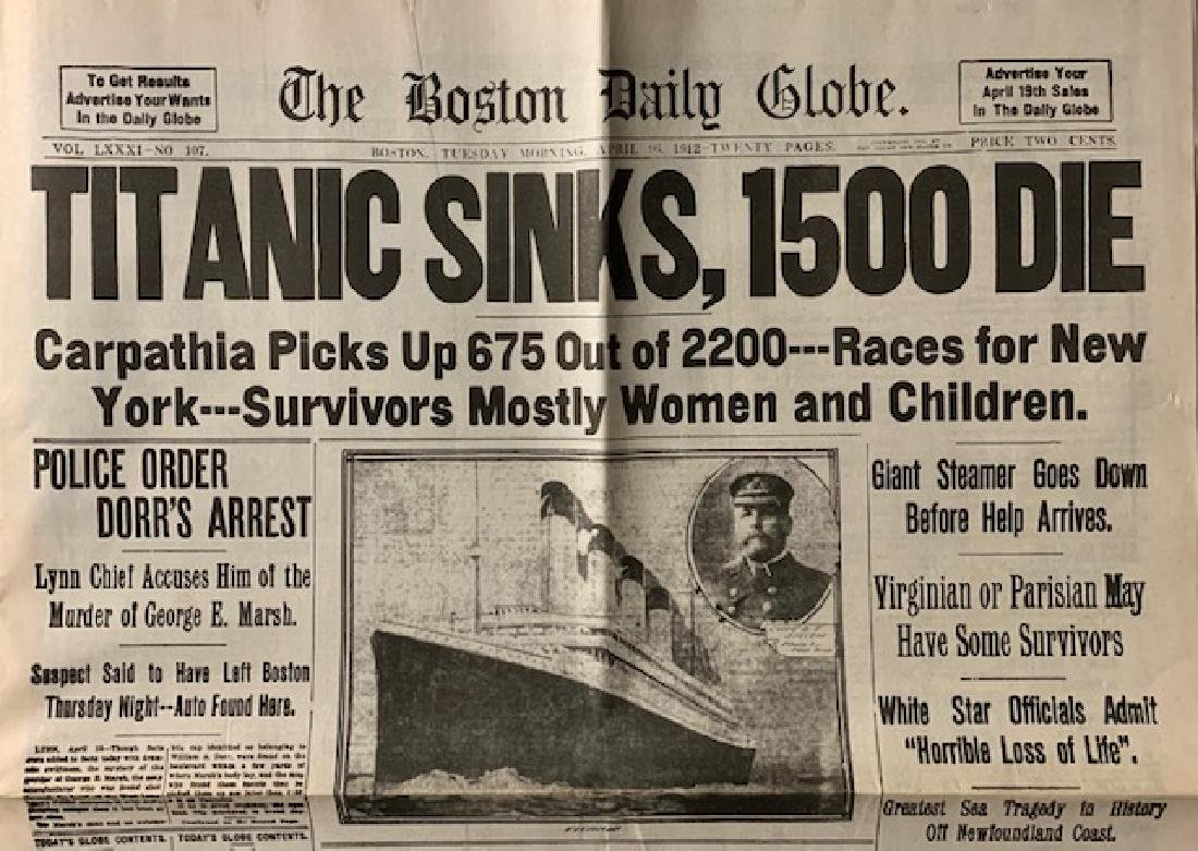 1912 Sinking of the Titanic Boston Newspaper READ ON