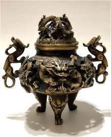 Chinese Hallmark Solid Bronze Dragons Temple Censor