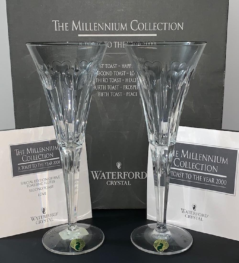 """WATERFORD Crystal """"LOVE†Toasting Flutes"""