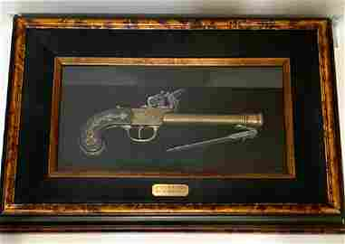 19 th  Century Flintlock Pistol/Gun w/Bayonet READ ON