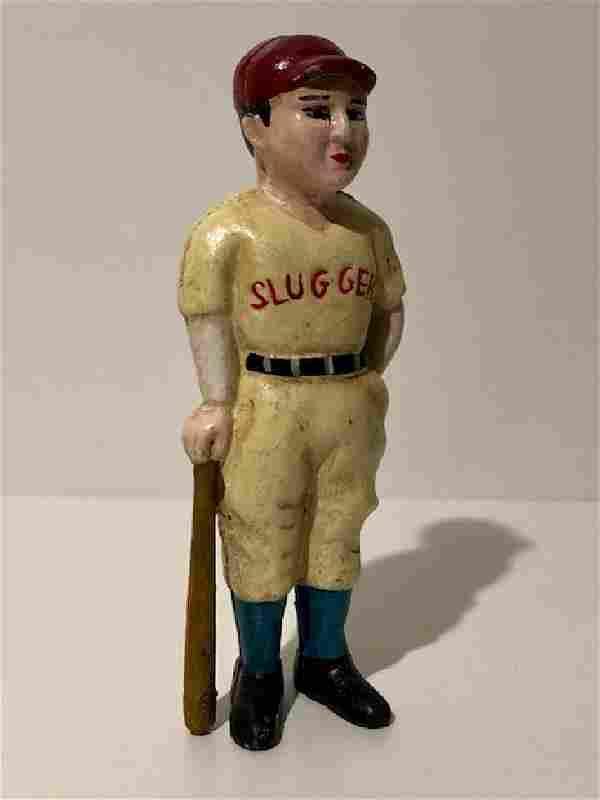 Vintage Cast Iron Baseball Player Coin Bank