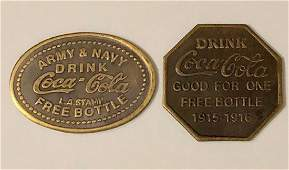 1915 ArmyNavy COCACOLA War Time Redemption Tokens