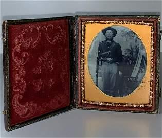 Civil War Tin Type Photo/Soldier in Uniform w/Rifle