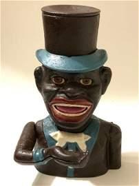 1896 Black Americana Cast Iron JOLLY BOY Coin Bank