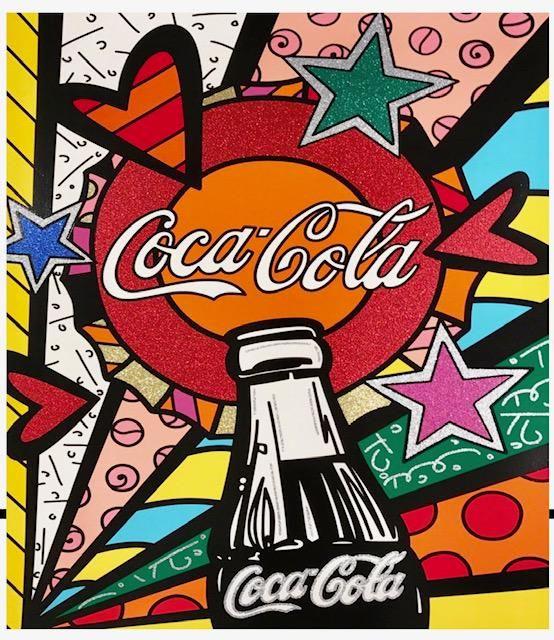 Signed ROMERO BRITTO Coca-Cola Giclee Canvas Art Print