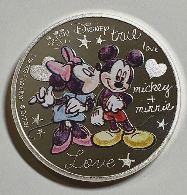 Walt Disney MICKEY & MINNIE .999 Clad Silver Coin