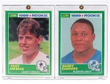 BARRY SANDERS and TROY AIKMAN Rookie RP Football Cards