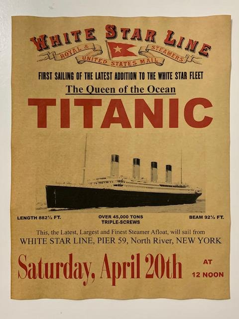 TITANIC First Sailing Maiden Voyage Notice Poster