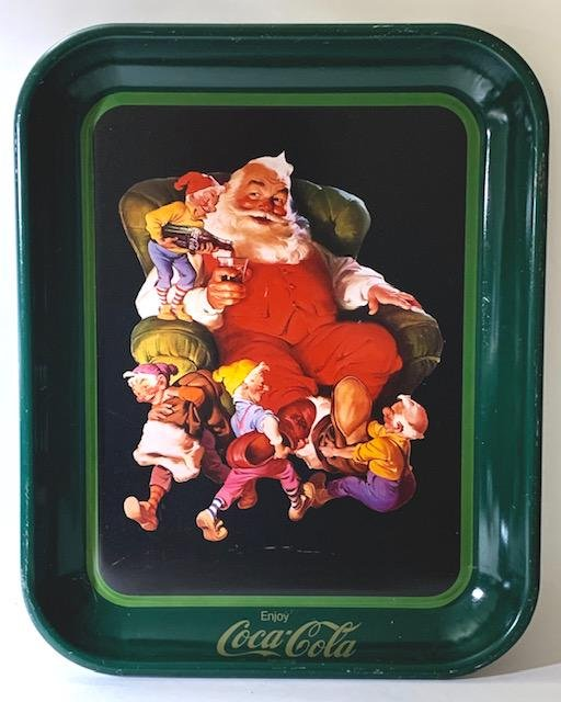 Vintage Coca-Cola Santa Claus Metal Advertising Tray
