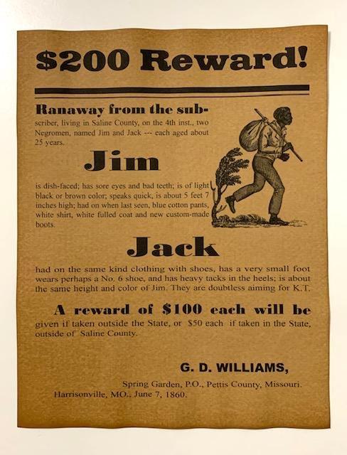 Dated Black Americana Runaway Slave Reward Poster
