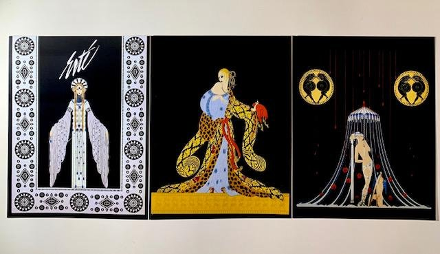 Lot of 3 ERTE Art Deco Art Print Lithographs 8 x 10