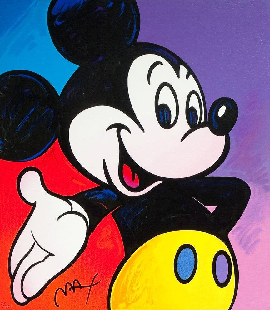 PETER MAX Disney MICKEY MOUSE Art on Canvas Print