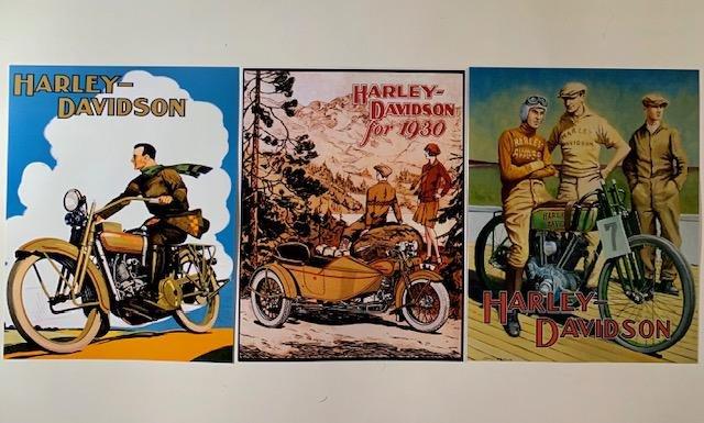 3 History of HARLEY-DAVIDSON Art Lithographs 8 x 10