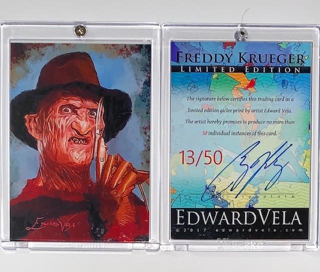 RARE / FREDDY KRUEGER Hand Signed by Artist Art Card