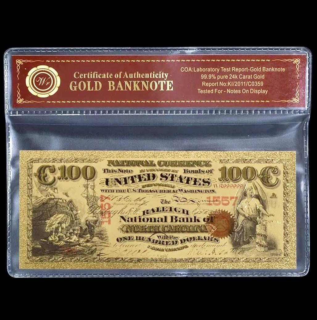 1875 Lab Tested 24k Gold $100 U.S. Banknote