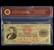 1878  24k Gold 1000 Silver Certificate Banknote